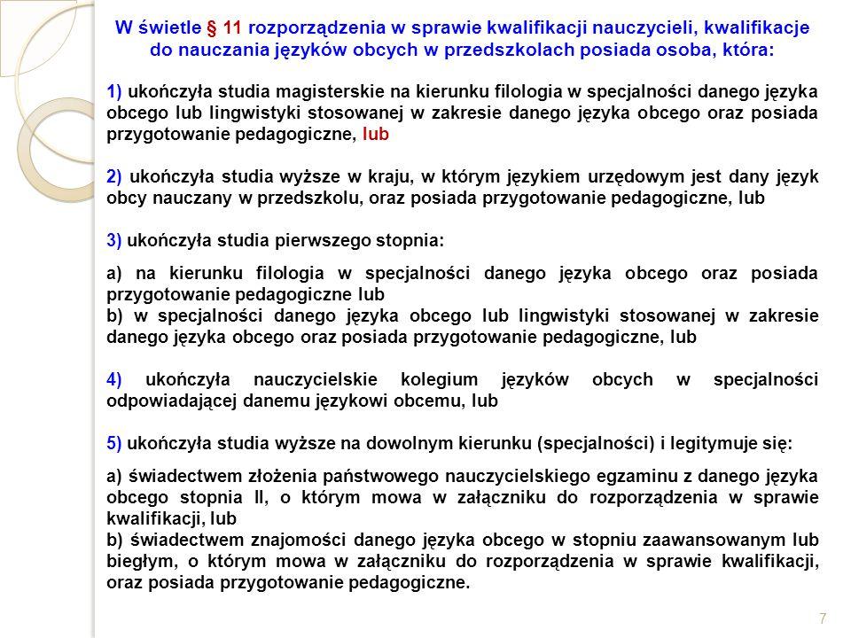 W świetle § 11 rozporządzenia w sprawie kwalifikacji nauczycieli, kwalifikacje do nauczania języków obcych w przedszkolach posiada osoba, która: 1) uk