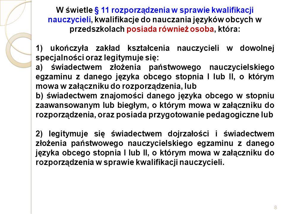 W świetle § 11 rozporządzenia w sprawie kwalifikacji nauczycieli, kwalifikacje do nauczania języków obcych w przedszkolach posiada również osoba, któr