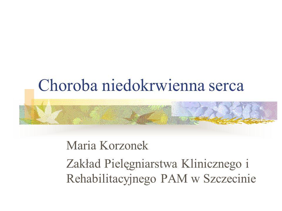 Patogeneza niewydolności wieńcowej Wzrost oporu naczyń wieńcowych Makroangiopatia ( zakrzep z płytki miażdżycowej Skurcz tętnicy wieńcowej Mikroangiopatia ( cukrzyca, nadciśnienie, zapalenie naczyń)