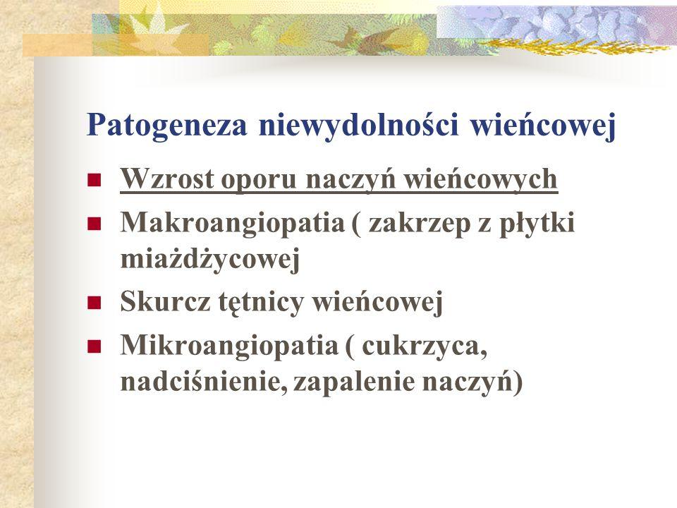 Patogeneza niewydolności wieńcowej Wzrost oporu naczyń wieńcowych Makroangiopatia ( zakrzep z płytki miażdżycowej Skurcz tętnicy wieńcowej Mikroangiop