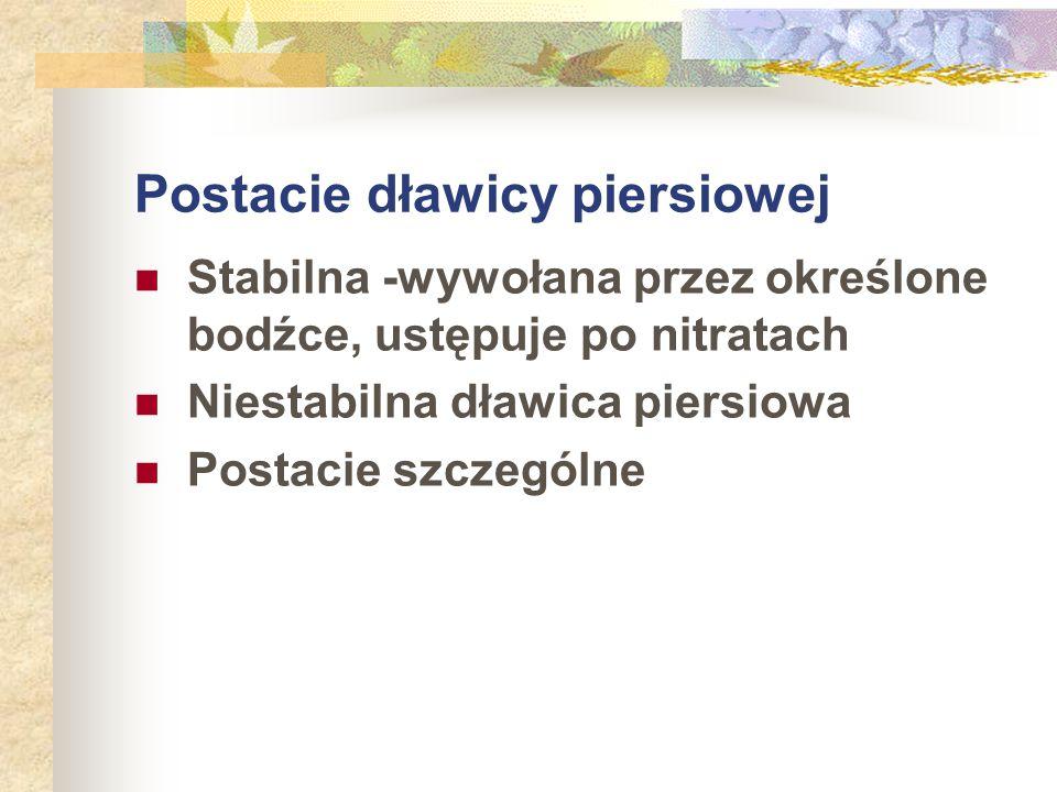Postacie dławicy piersiowej Stabilna -wywołana przez określone bodźce, ustępuje po nitratach Niestabilna dławica piersiowa Postacie szczególne