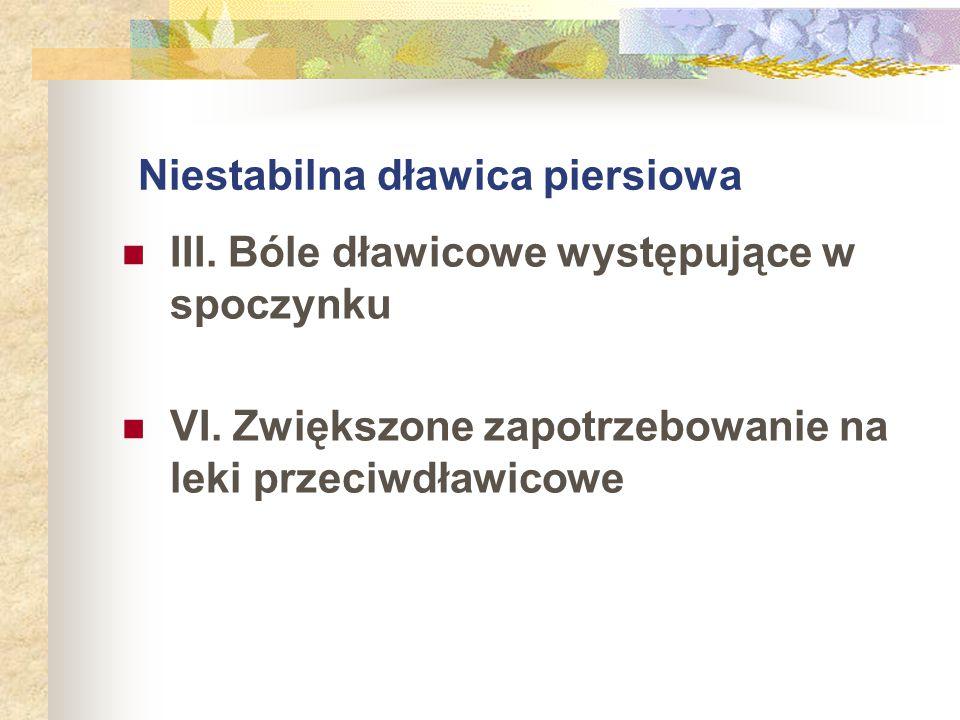 Niestabilna dławica piersiowa III. Bóle dławicowe występujące w spoczynku VI. Zwiększone zapotrzebowanie na leki przeciwdławicowe