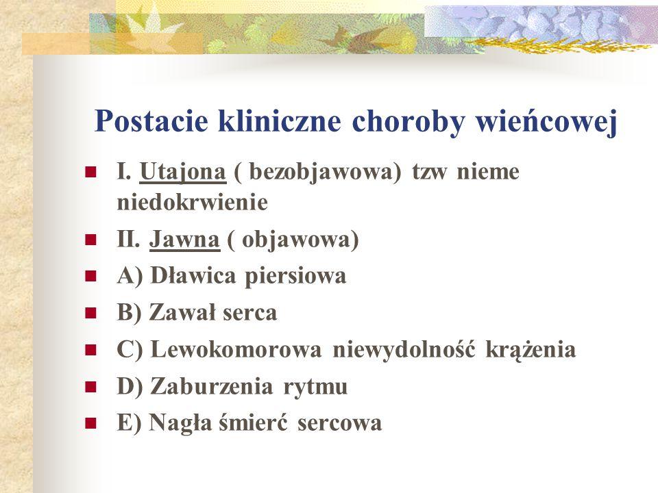 Postacie kliniczne choroby wieńcowej I. Utajona ( bezobjawowa) tzw nieme niedokrwienie II. Jawna ( objawowa) A) Dławica piersiowa B) Zawał serca C) Le