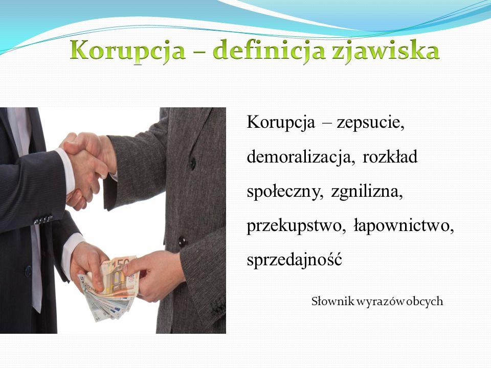 Korupcja – zepsucie, demoralizacja, rozkład społeczny, zgnilizna, przekupstwo, łapownictwo, sprzedajność Słownik wyrazów obcych