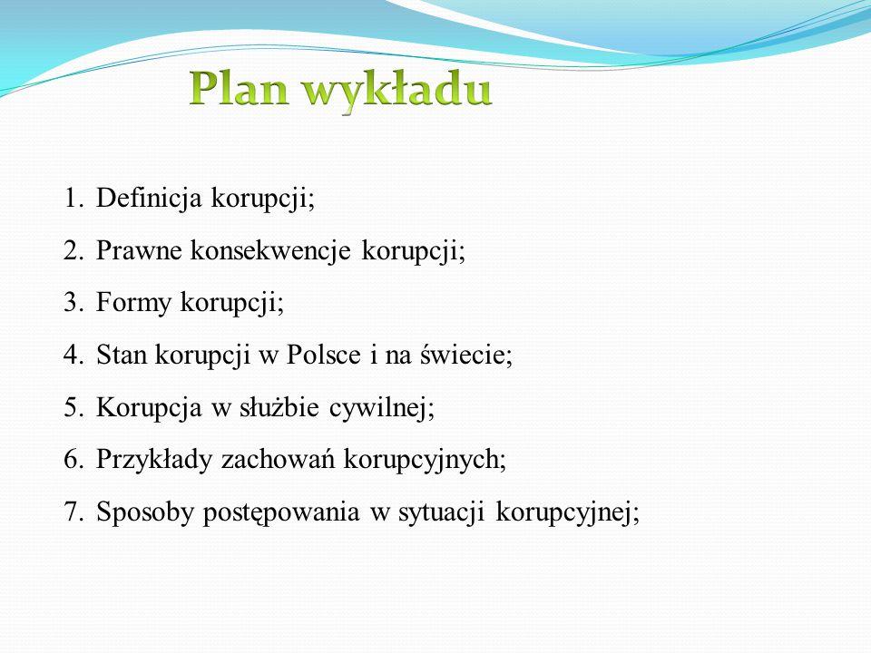 1.Definicja korupcji; 2.Prawne konsekwencje korupcji; 3.Formy korupcji; 4.Stan korupcji w Polsce i na świecie; 5.Korupcja w służbie cywilnej; 6.Przykł