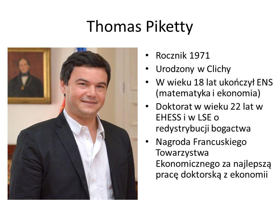 Thomas Piketty Rocznik 1971 Urodzony w Clichy W wieku 18 lat ukończył ENS (matematyka i ekonomia) Doktorat w wieku 22 lat w EHESS i w LSE o redystrybucji bogactwa Nagroda Francuskiego Towarzystwa Ekonomicznego za najlepszą pracę doktorską z ekonomii