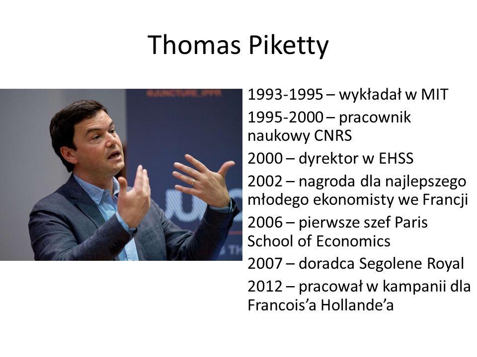 Thomas Piketty 1993-1995 – wykładał w MIT 1995-2000 – pracownik naukowy CNRS 2000 – dyrektor w EHSS 2002 – nagroda dla najlepszego młodego ekonomisty we Francji 2006 – pierwsze szef Paris School of Economics 2007 – doradca Segolene Royal 2012 – pracował w kampanii dla Francois'a Hollande'a