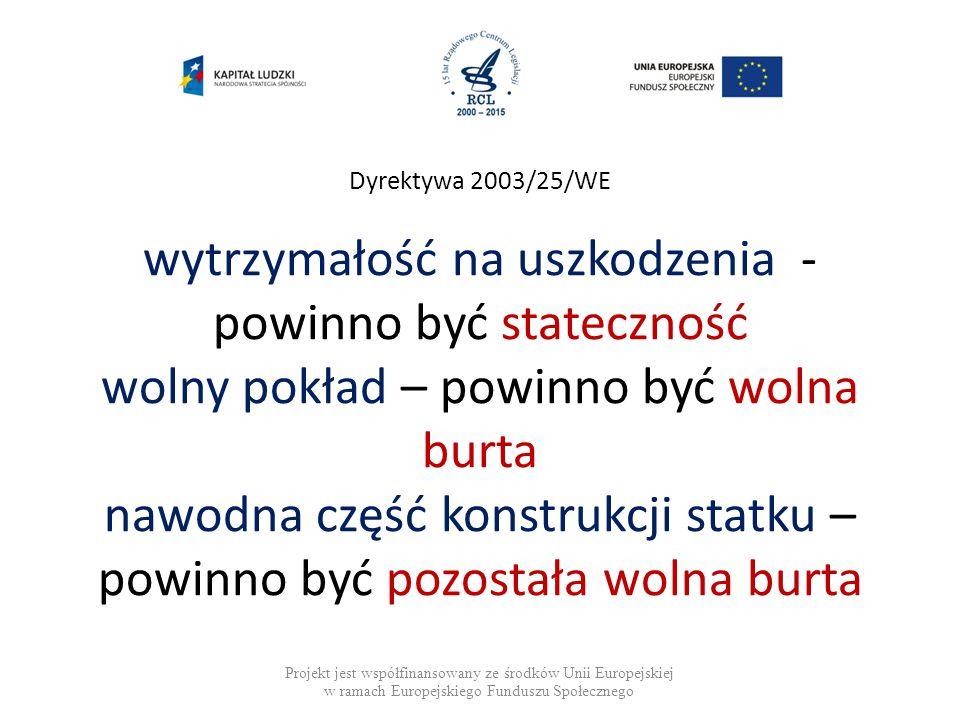Dyrektywa 2003/25/WE wytrzymałość na uszkodzenia - powinno być stateczność wolny pokład – powinno być wolna burta nawodna część konstrukcji statku – powinno być pozostała wolna burta Projekt jest współfinansowany ze środków Unii Europejskiej w ramach Europejskiego Funduszu Społecznego
