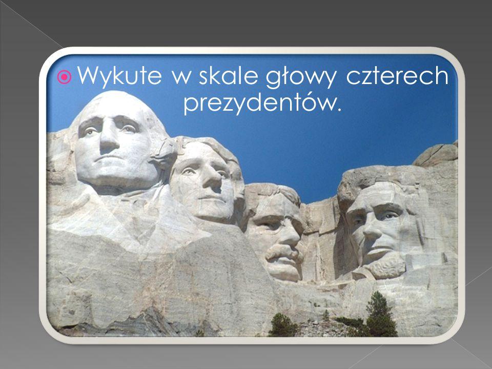  Wykute w skale głowy czterech prezydentów.