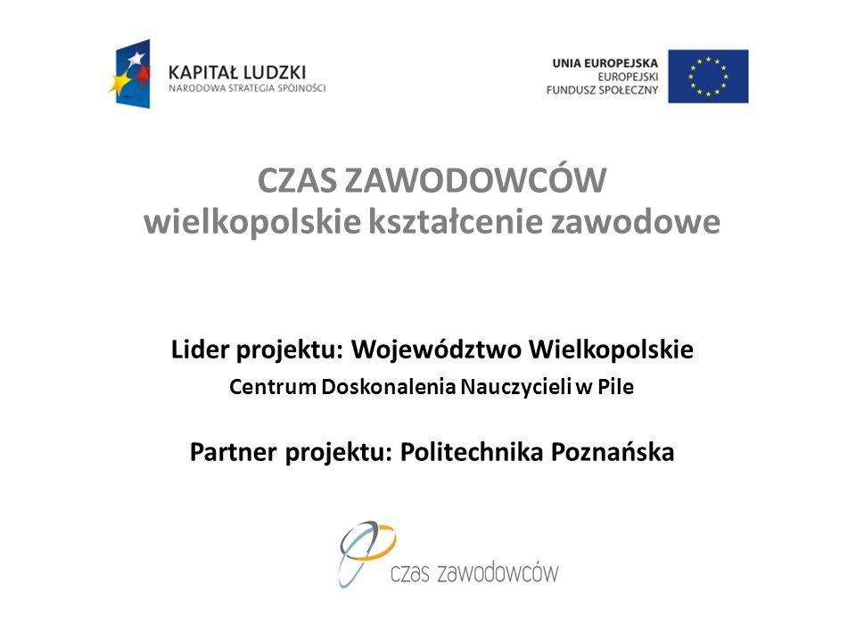 CZAS ZAWODOWCÓW wielkopolskie kształcenie zawodowe Lider projektu: Województwo Wielkopolskie Centrum Doskonalenia Nauczycieli w Pile Partner projektu: