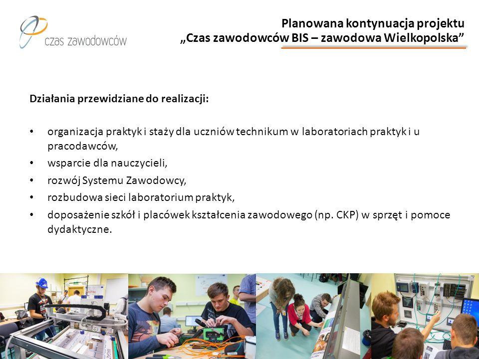 """Planowana kontynuacja projektu """"Czas zawodowców BIS – zawodowa Wielkopolska"""" Działania przewidziane do realizacji: organizacja praktyk i staży dla ucz"""