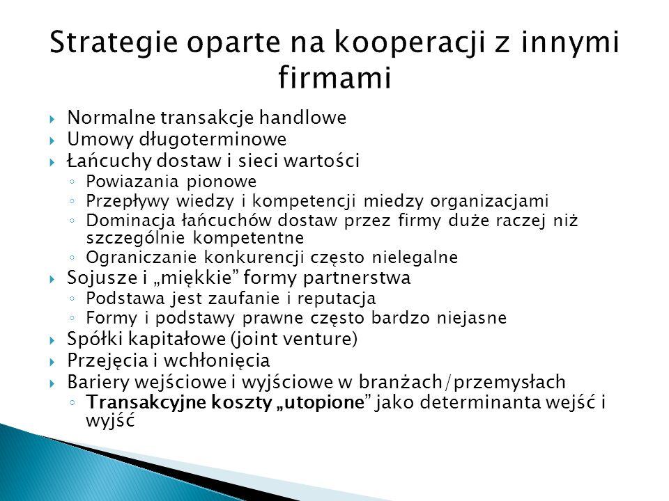  Dywersyfikacja ◦ Rozwój poprzez proliferacje zróżnicowanych jednostek organizacyjnych produkujących produkty pokrewne/powiązane lub niepokrewne/niepowiązane ◦ Jednostki te mogą operować w różnych dziedzinach/branżach przemysłu (np., Nestle, żywność, wyroby czekoladowe, kawa, napoje) ◦ Istotna jest synergia procesów produkcyjnych i organizacyjnych raczej niż produktów końcowych: główne obszary kompetencji (wiedza firmy jako całości, która jest podstawa synergii miedzy jednostkami produkcyjnymi) ◦ Synergia w zakupie materiałów ◦ Firmy zdywersyfikowane musza mieć przynajmniej elementy synergii finansowej – inaczej są kandydatami do podziału lub zbytu ◦ Jeśli nie ma synergii to po co być razem?