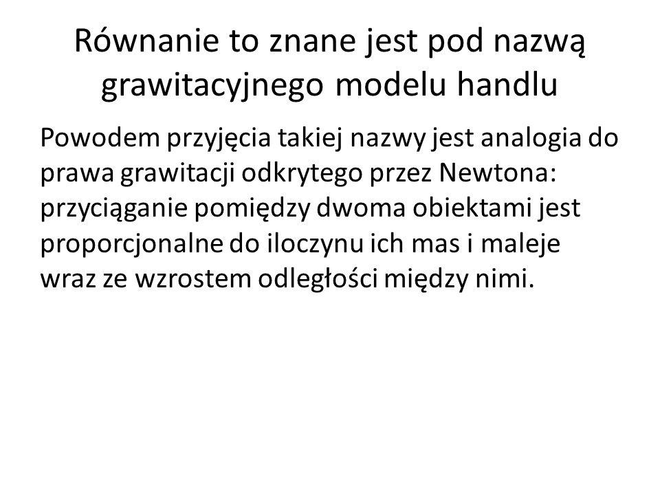 Równanie to znane jest pod nazwą grawitacyjnego modelu handlu Powodem przyjęcia takiej nazwy jest analogia do prawa grawitacji odkrytego przez Newtona