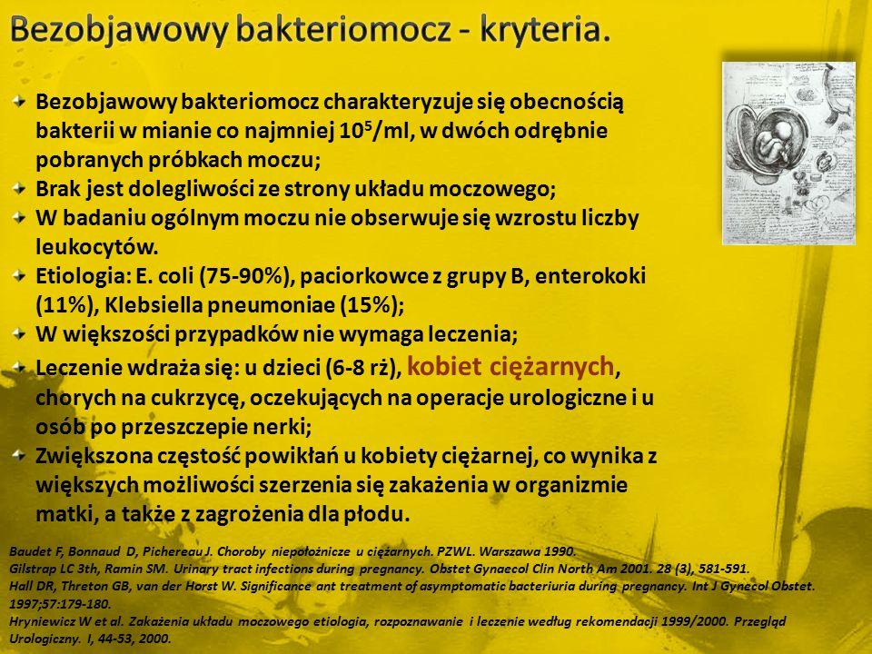 Baudet F, Bonnaud D, Pichereau J. Choroby niepołożnicze u ciężarnych. PZWL. Warszawa 1990. Gilstrap LC 3th, Ramin SM. Urinary tract infections during