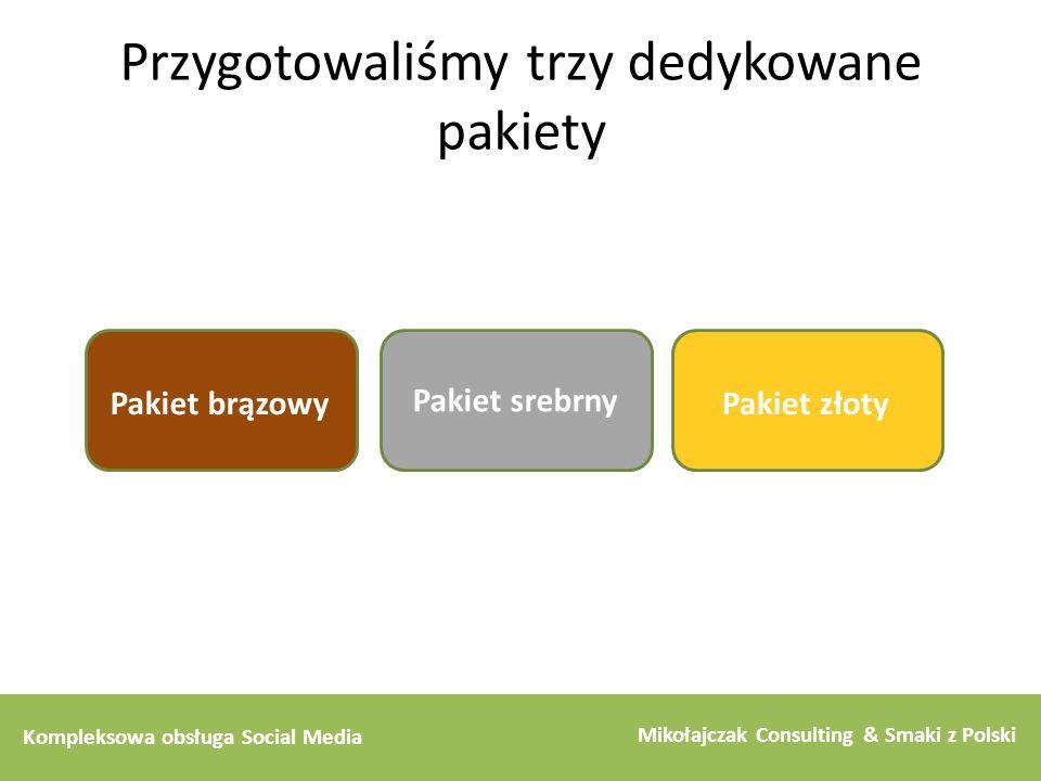 Kompleksowa obsługa Social Media Mikołajczak Consulting & Smaki z Polski Przygotowaliśmy trzy dedykowane pakiety Pakiet brązowy Pakiet srebrny Pakiet
