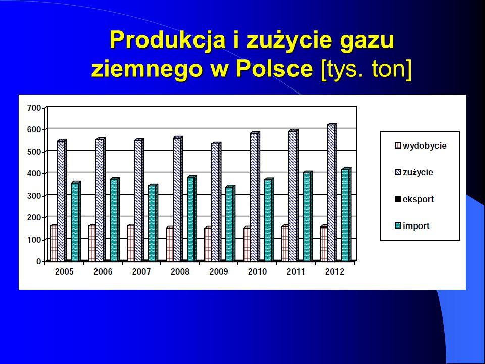 Produkcja i zużycie gazu ziemnego w Polsce [tys. ton]