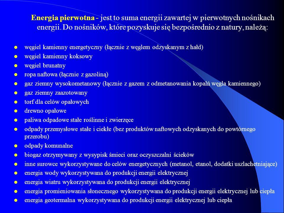 Energia pierwotna - jest to suma energii zawartej w pierwotnych nośnikach energii. Do nośników, które pozyskuje się bezpośrednio z natury, należą: węg