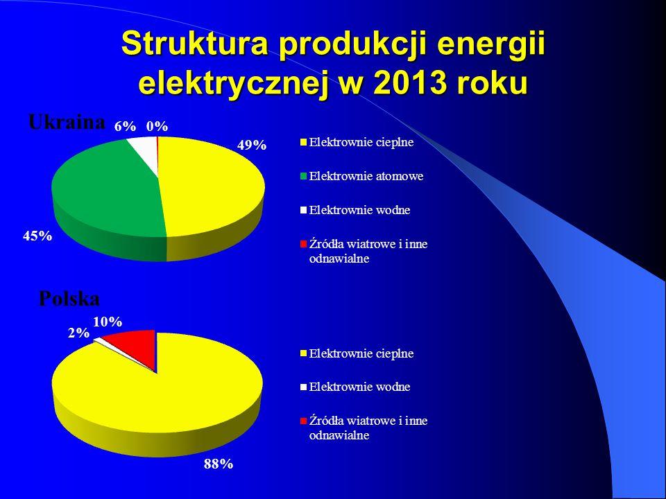 Struktura produkcji energii elektrycznej w 2013 roku Ukraina Polska