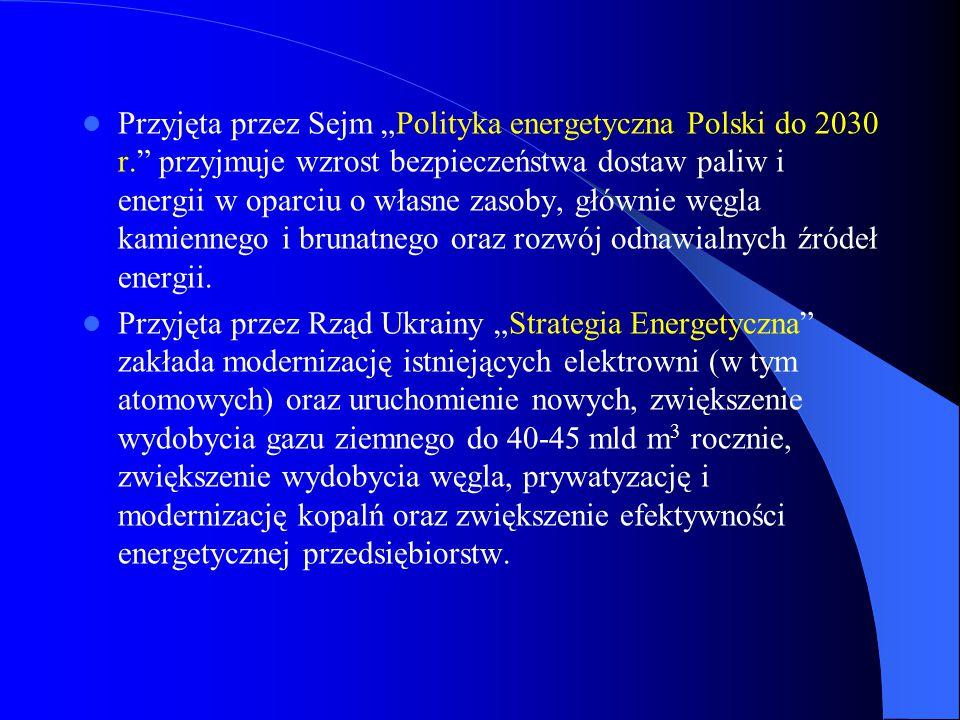 """Przyjęta przez Sejm """"Polityka energetyczna Polski do 2030 r."""" przyjmuje wzrost bezpieczeństwa dostaw paliw i energii w oparciu o własne zasoby, główni"""