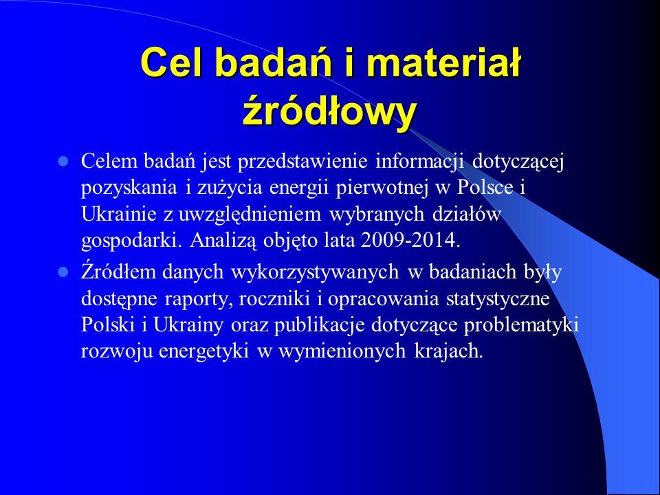 Cel badań i materiał źródłowy Celem badań jest przedstawienie informacji dotyczącej pozyskania i zużycia energii pierwotnej w Polsce i Ukrainie z uwzg