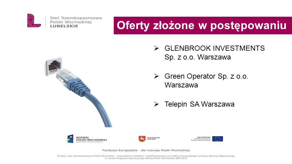 Oferty złożone w postępowaniu  GLENBROOK INVESTMENTS Sp. z o.o. Warszawa  Green Operator Sp. z o.o. Warszawa  Telepin SA Warszawa