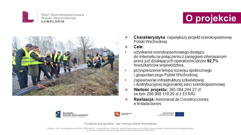  Charakterystyka: największy projekt szerokopasmowy Polski Wschodniej  Cele: uzyskanie szerokopasmowego dostępu do internetu (w połączeniu z zasięgi