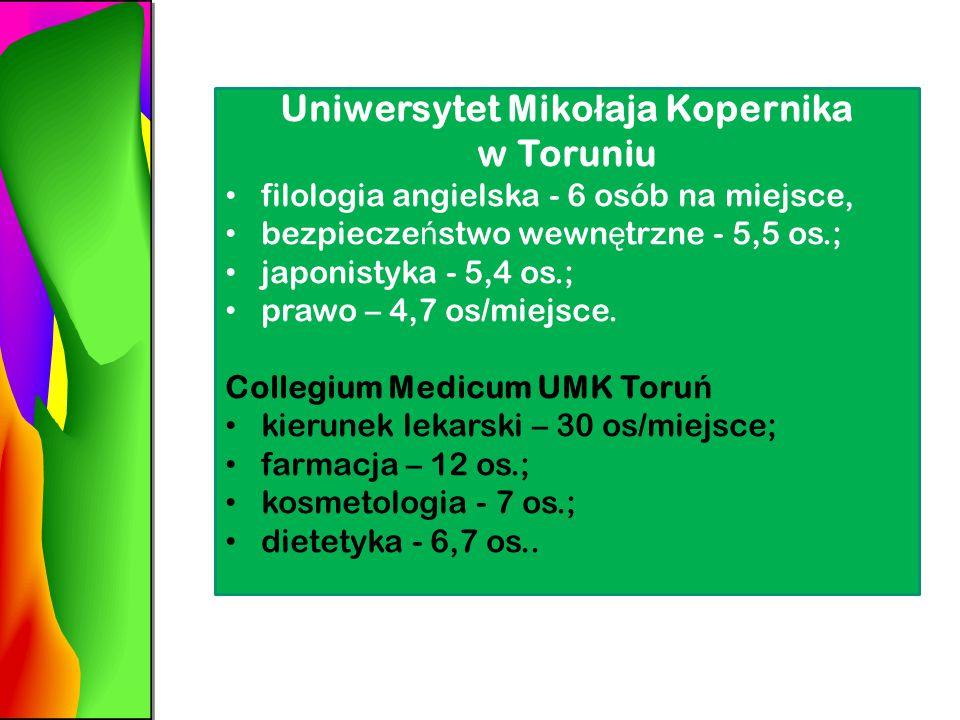 Uniwersytet Miko ł aja Kopernika w Toruniu filologia angielska - 6 osób na miejsce, bezpiecze ń stwo wewn ę trzne - 5,5 os.; japonistyka - 5,4 os.; prawo – 4,7 os/miejsce.