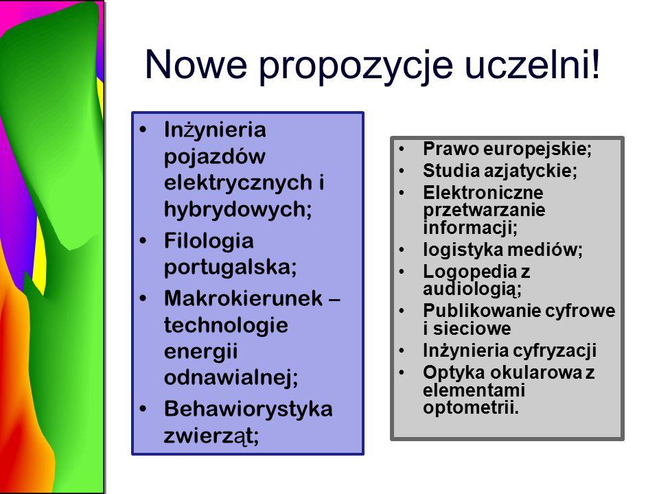 Nowe propozycje uczelni.