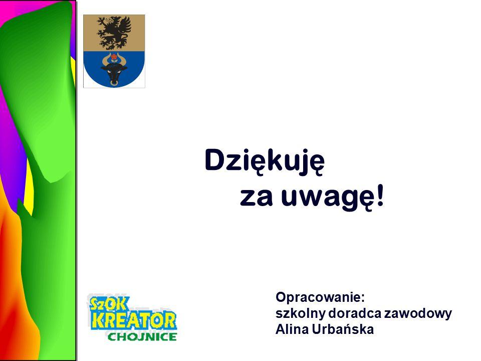 Dzi ę kuj ę za uwag ę ! Opracowanie: szkolny doradca zawodowy Alina Urbańska
