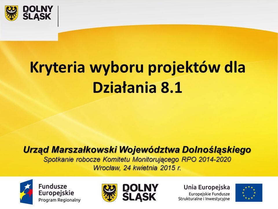 32015-04-24 Oś 8 Rynek pracy Priorytet 8.1 (PI 8.i) Zapewnianie dostępu do zatrudnienia Działanie 8.1 Projekty powiatowych urzędów pracy - 86 313 071 EUR Typy projektów: usługi i instrumenty rynku pracy określone w ustawie z dnia 20 kwietnia 2004 roku o promocji zatrudnienia i instytucjach rynku pracy z wyłączeniem robót publicznych (m.