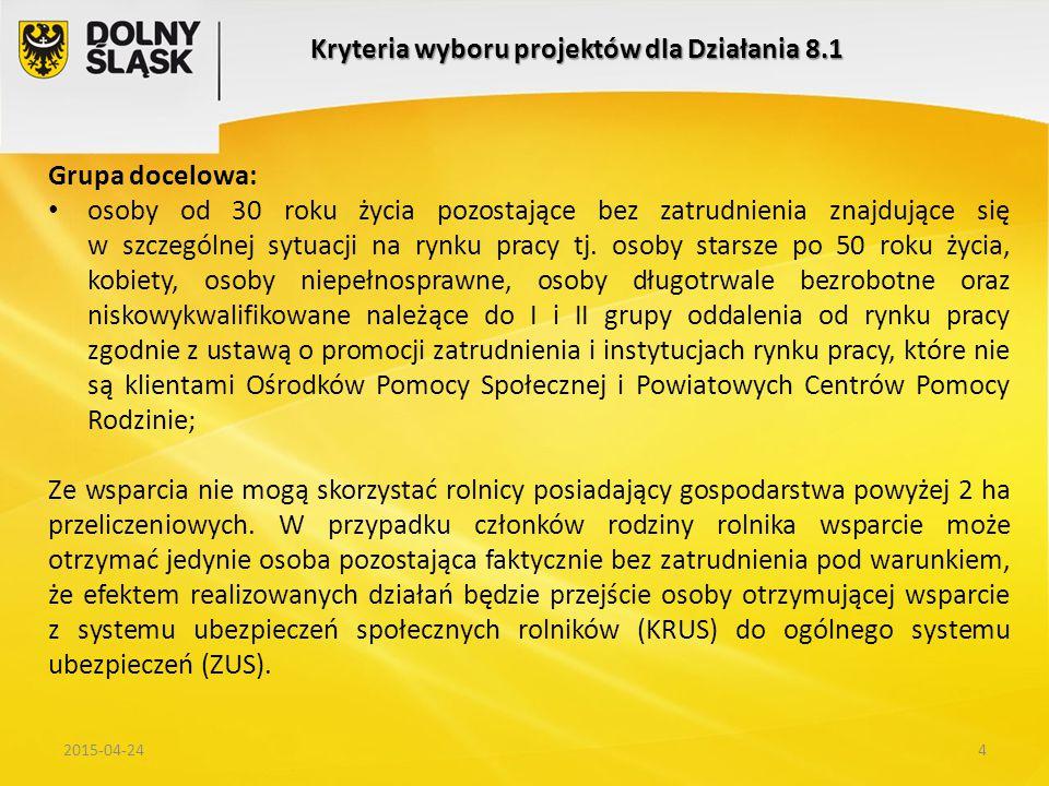 52015-04-24 Kryteria wyboru projektów dla Działania 8.1 Zapisy Regionalnego Programu Operacyjnego Województwa Dolnośląskiego na lata 2014-2020; Wytyczne horyzontalne Ministerstwa Infrastruktury i Rozwoju Doświadczenia zebrane podczas wdrażania w latach 2007-2013 projektów PUP w ramach Poddziałania 6.1.3 Rozwiązania przyjęte dla PUP w ramach działań PO WERUwagi i propozycje zebrane podczas konsultacji z PUP i DWUP