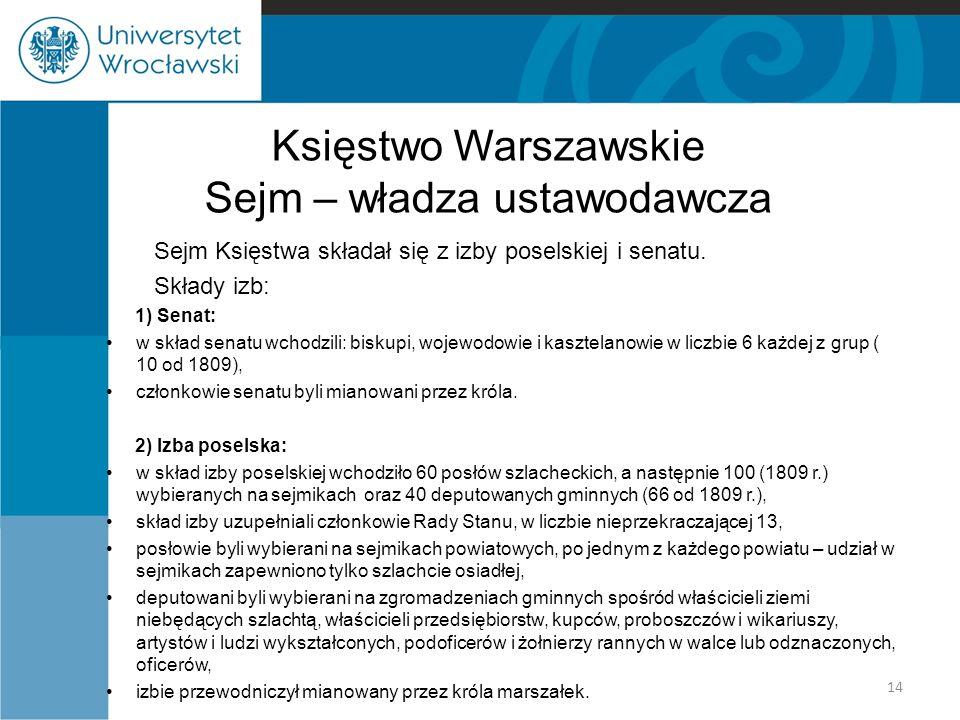 Księstwo Warszawskie Sejm – władza ustawodawcza Sejm Księstwa składał się z izby poselskiej i senatu. Składy izb: 1) Senat: w skład senatu wchodzili: