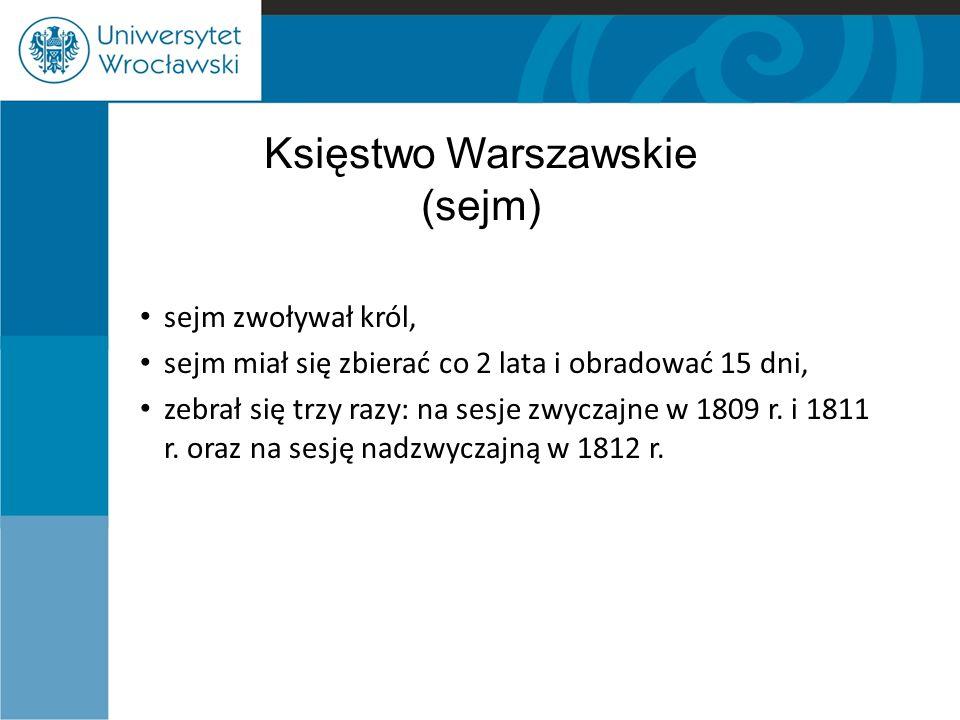 Księstwo Warszawskie (sejm) sejm zwoływał król, sejm miał się zbierać co 2 lata i obradować 15 dni, zebrał się trzy razy: na sesje zwyczajne w 1809 r.