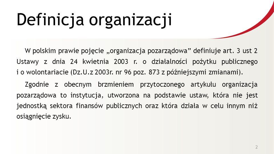"""Definicja organizacji W polskim prawie pojęcie """"organizacja pozarządowa definiuje art."""