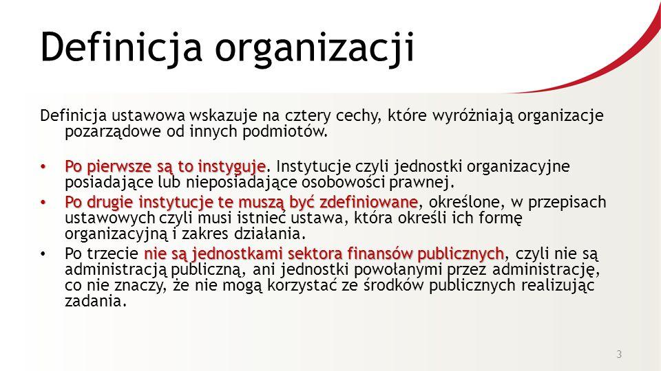 Definicja organizacji Definicja ustawowa wskazuje na cztery cechy, które wyróżniają organizacje pozarządowe od innych podmiotów.