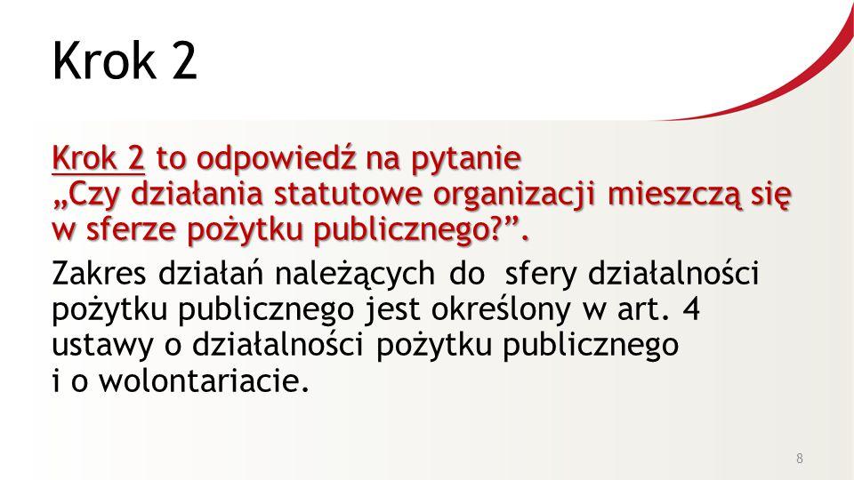 """Krok 2 Krok 2 to odpowiedź na pytanie """"Czy działania statutowe organizacji mieszczą się w sferze pożytku publicznego? ."""