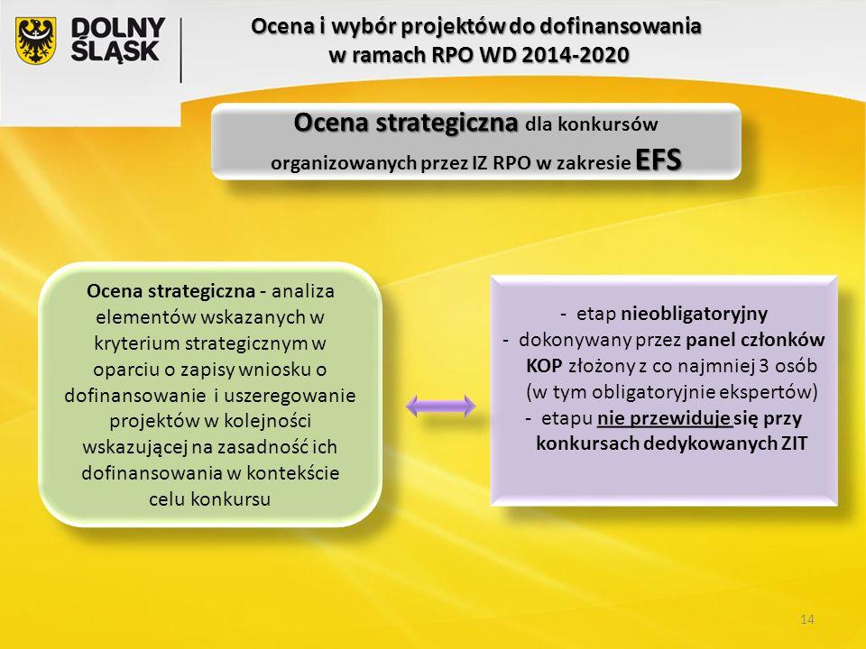 Ocena i wybór projektów do dofinansowania w ramach RPO WD 2014-2020 Ocena strategiczna - analiza elementów wskazanych w kryterium strategicznym w opar