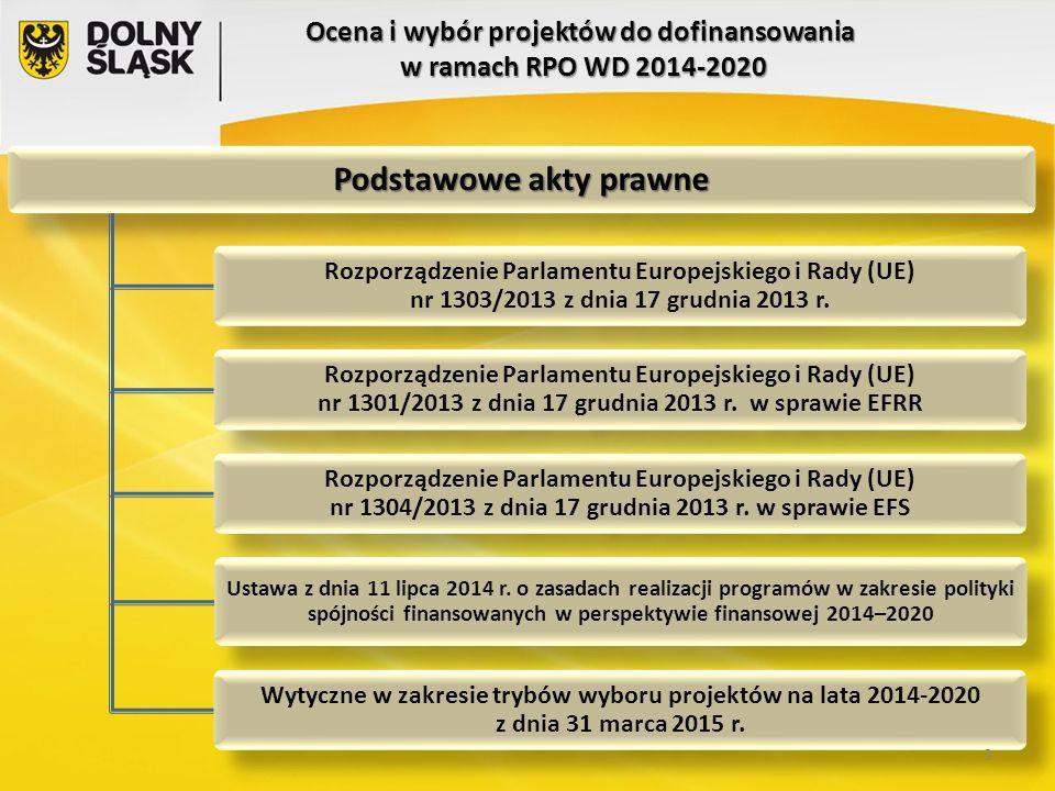 Ocena i wybór projektów do dofinansowania w ramach RPO WD 2014-2020 Podstawowe akty prawne Rozporządzenie Parlamentu Europejskiego i Rady (UE) nr 1303