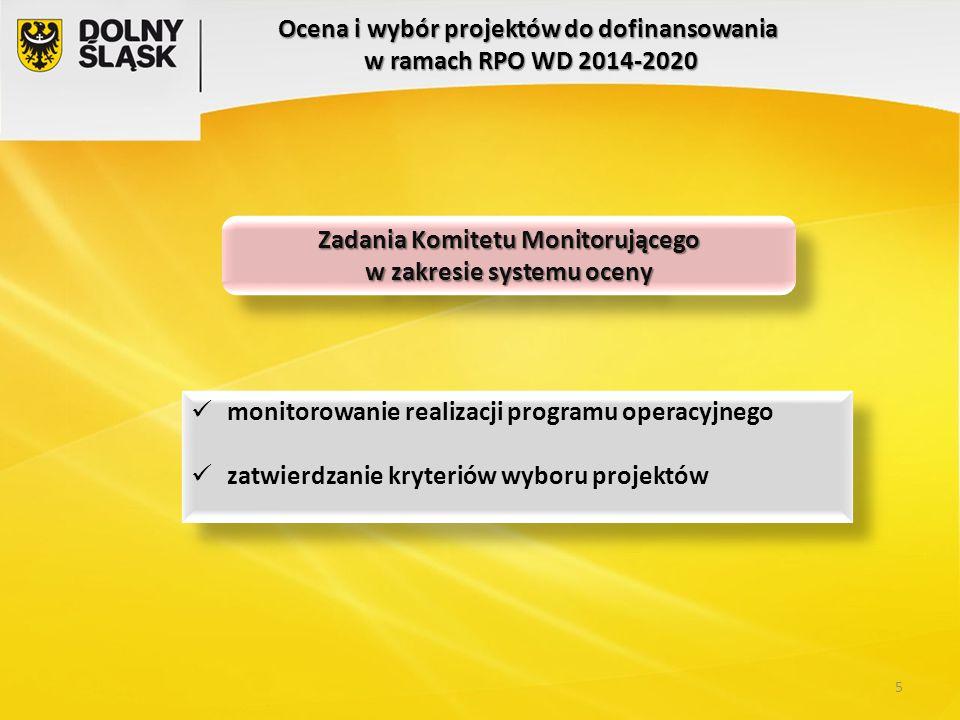 Ocena i wybór projektów do dofinansowania w ramach RPO WD 2014-2020 Zadania Komitetu Monitorującego w zakresie systemu oceny Zadania Komitetu Monitoru