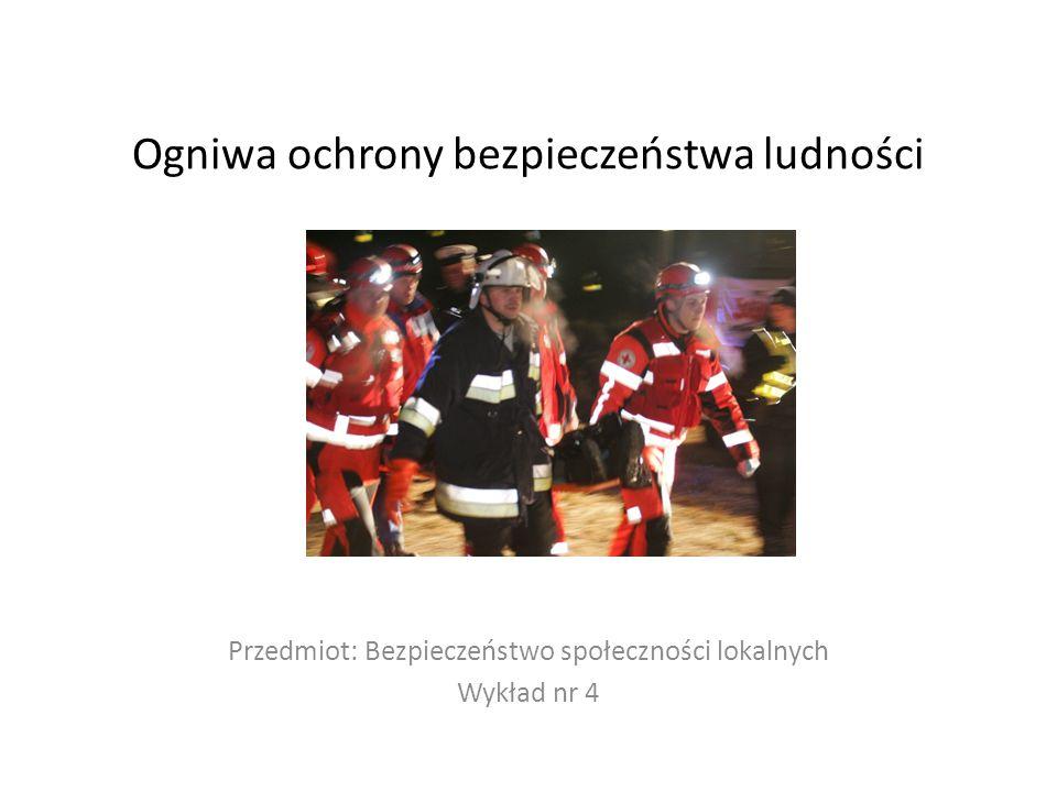 Ogniwa ochrony bezpieczeństwa ludności Przedmiot: Bezpieczeństwo społeczności lokalnych Wykład nr 4