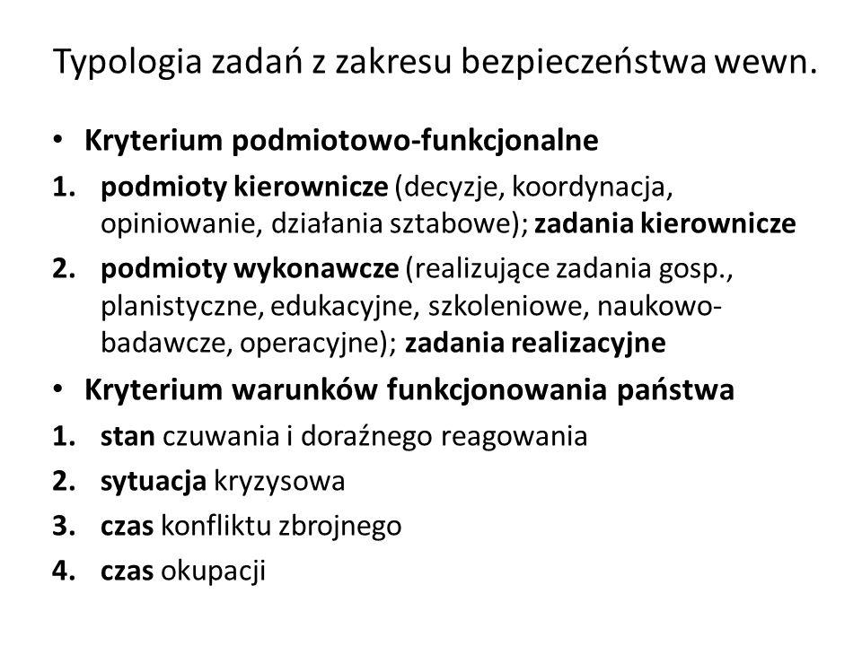 Typologia zadań z zakresu bezpieczeństwa wewn. Kryterium podmiotowo-funkcjonalne 1.podmioty kierownicze (decyzje, koordynacja, opiniowanie, działania
