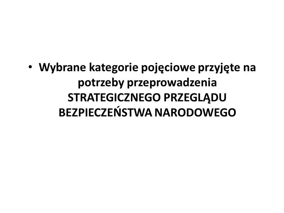 W ramach zintegrowanego bezpieczeństwa narodowego Polski (bezpieczeństwa państwa) można wyróżnić dwa jego konstytucyjne obszary: (1)bezpieczeństwo zewnętrzne i (2)wewnętrzne oraz trzy podstawowe dziedziny: (I) obronność (obrona narodowa, czyli bezpieczeństwo militarne), (II) ochrona (bezpieczeństwo cywilne, niemilitarne) i (III) bezpieczeństwo ekonomiczno-kulturowe (w tym ekonomiczno-kulturowe wsparcie bezpieczeństwa).