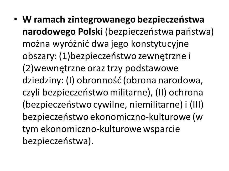 W ramach zintegrowanego bezpieczeństwa narodowego Polski (bezpieczeństwa państwa) można wyróżnić dwa jego konstytucyjne obszary: (1)bezpieczeństwo zew