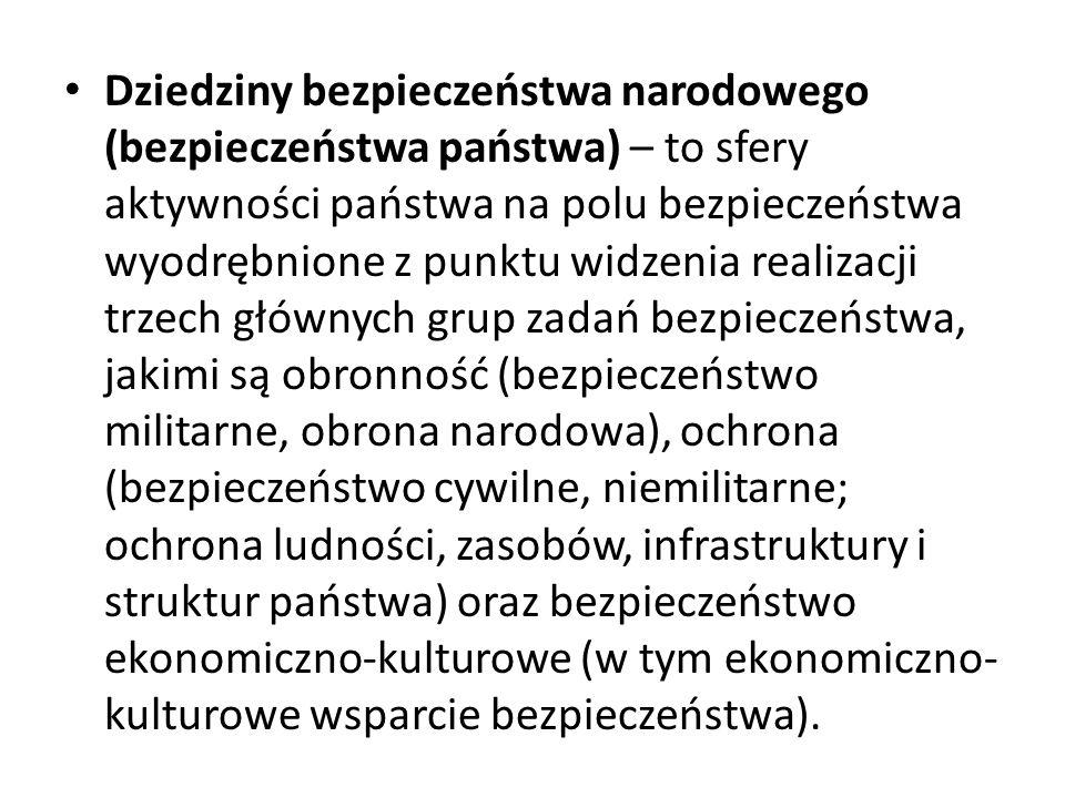 W ramach wcześniej wskazanych dziedzin można wyodrębnić – zgodnie z przyjętą w Polsce strukturą działalności państwowej – sektory bezpieczeństwa narodowego, takie jak: dyplomacja, wojskowość, wywiad i kontrwywiad, bezpieczeństwo publiczne, ratownictwo, bezpieczeństwo społeczne (w tym np.