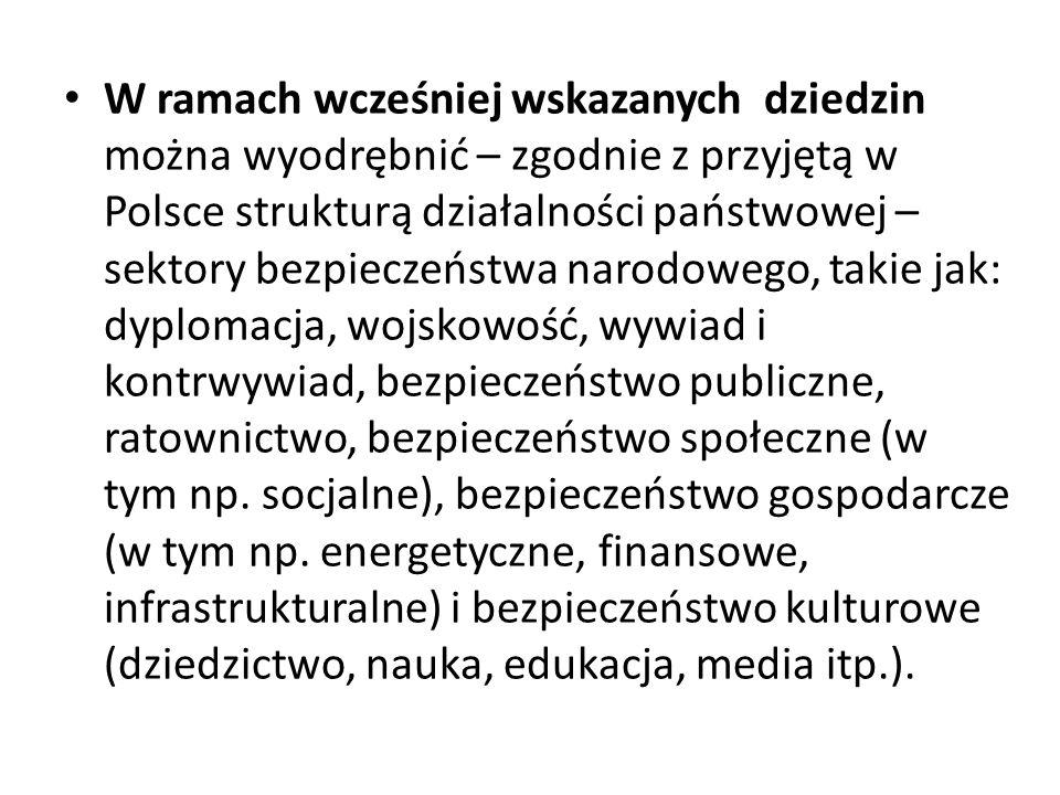 W ramach wcześniej wskazanych dziedzin można wyodrębnić – zgodnie z przyjętą w Polsce strukturą działalności państwowej – sektory bezpieczeństwa narod