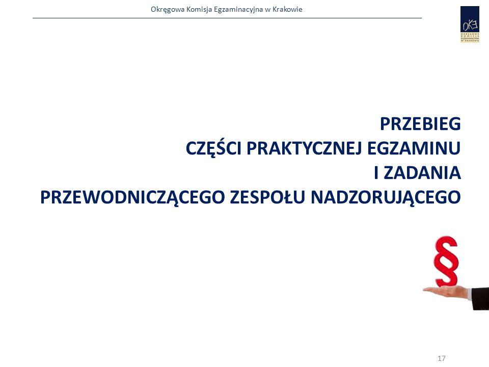 Okręgowa Komisja Egzaminacyjna w Krakowie PRZEBIEG CZĘŚCI PRAKTYCZNEJ EGZAMINU I ZADANIA PRZEWODNICZĄCEGO ZESPOŁU NADZORUJĄCEGO 17