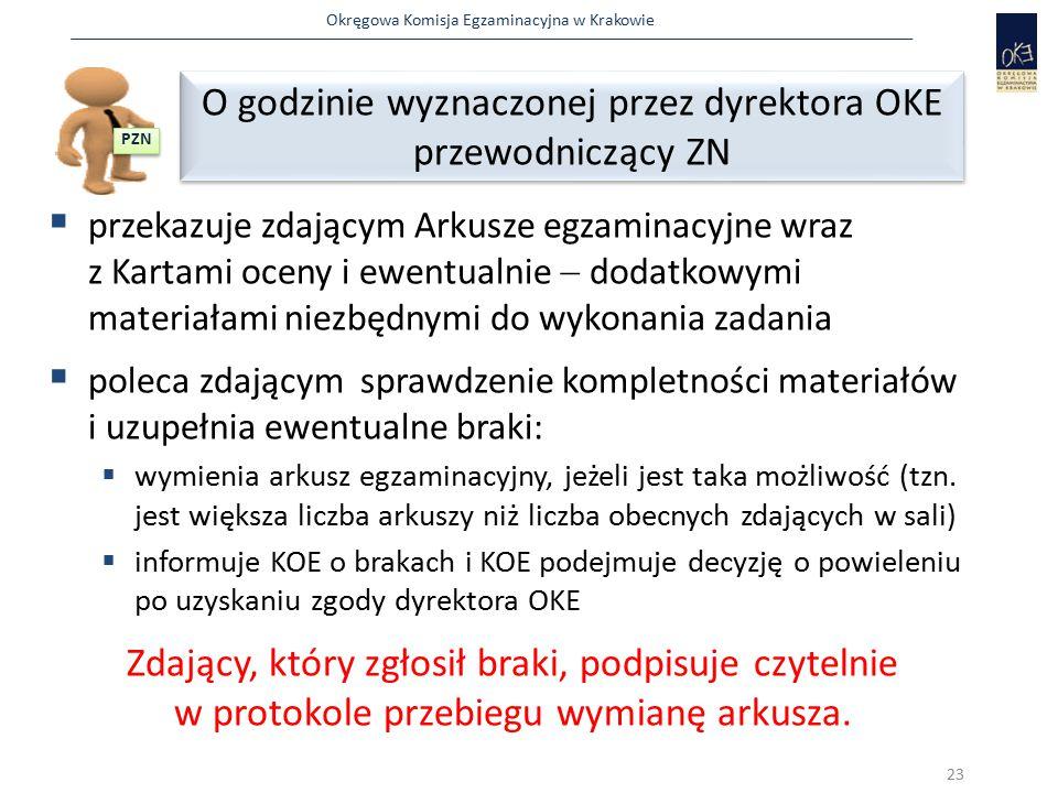 Okręgowa Komisja Egzaminacyjna w Krakowie  przekazuje zdającym Arkusze egzaminacyjne wraz z Kartami oceny i ewentualnie  dodatkowymi materiałami nie