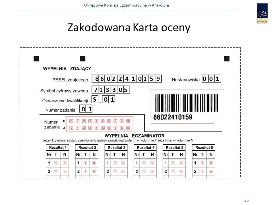 Okręgowa Komisja Egzaminacyjna w Krakowie Zakodowana Karta oceny 8 6 0 2 2 4 1 0 1 5 90 0 1 7 1 3 3 0 5 S 0 1 0 1 25