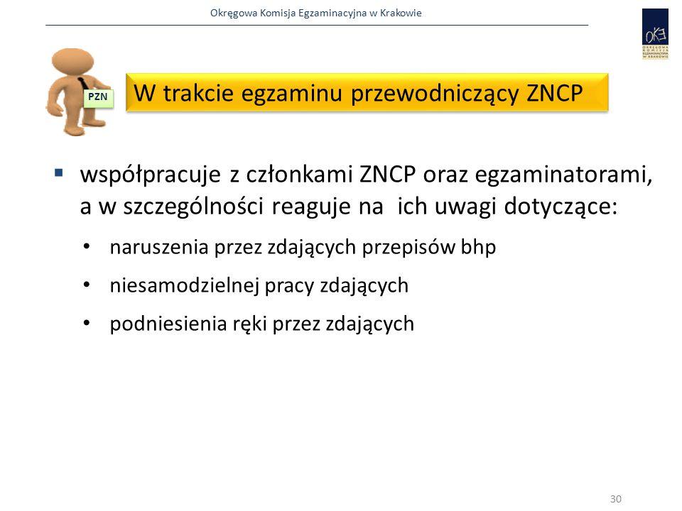 Okręgowa Komisja Egzaminacyjna w Krakowie  współpracuje z członkami ZNCP oraz egzaminatorami, a w szczególności reaguje na ich uwagi dotyczące: narus