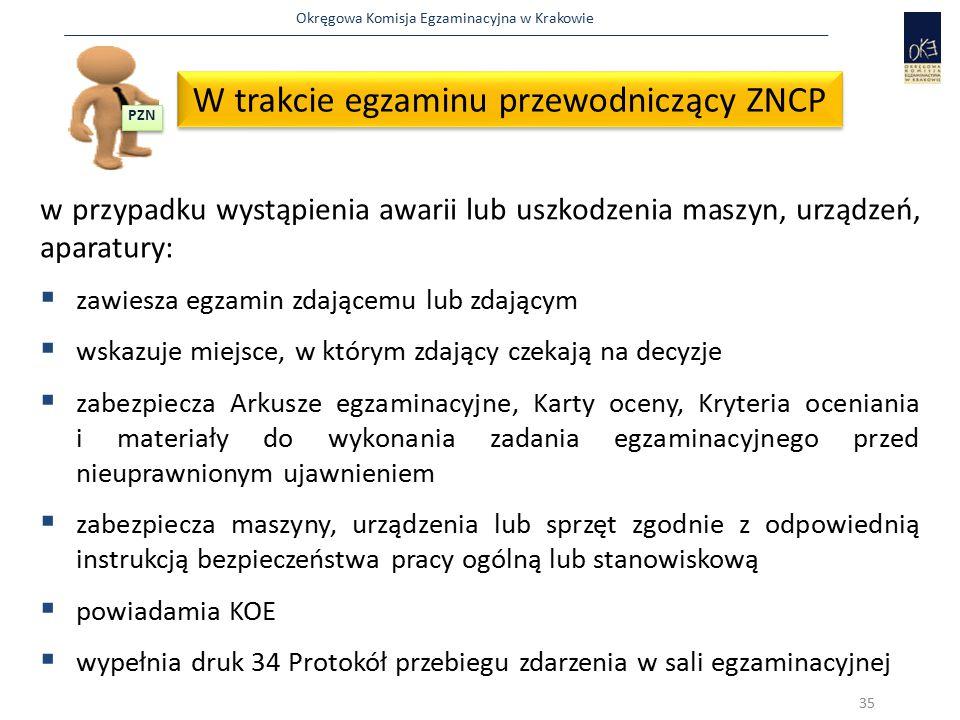 Okręgowa Komisja Egzaminacyjna w Krakowie w przypadku wystąpienia awarii lub uszkodzenia maszyn, urządzeń, aparatury:  zawiesza egzamin zdającemu lub